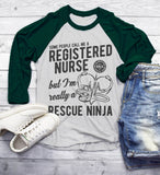 Men's Funny RN Nurse T-Shirt Rescue Ninja Shirt Registered Nurses 3/4 Sleeve Raglan-Shirts By Sarah