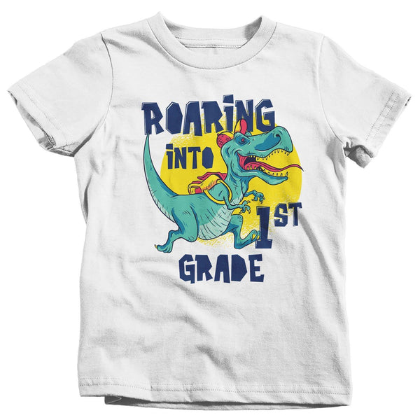 Kids 1st Grade T Shirt Dinosaur School Shirt Boy's Girl's Roaring Into T Rex K First Grade TShirt-Shirts By Sarah