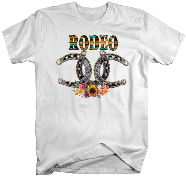 Men's Rodeo T Shirt Horseshoe Lucky Shirt Bull Rider Riding Cowboy Tshirt Floral Pretty Flowers Rodeo Tee Unisex Man-Shirts By Sarah