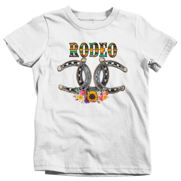 Kids Rodeo T Shirt Horseshoe Lucky Shirt Bull Rider Riding Cowboy Tshirt Floral Pretty Flowers Rodeo Tee Boy's Girl's Youth-Shirts By Sarah