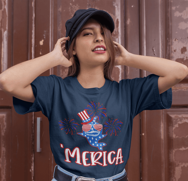 Men's Funny Merica Shark T Shirt Patriotic Shark Shirts 4th July Shark TShirt Patriotic 'Merica Shirt-Shirts By Sarah