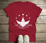 Men's Whale Hipster T-Shirt Sail Away Sailboat Shirt Wanderlust Graphic Tee Moon-Shirts By Sarah