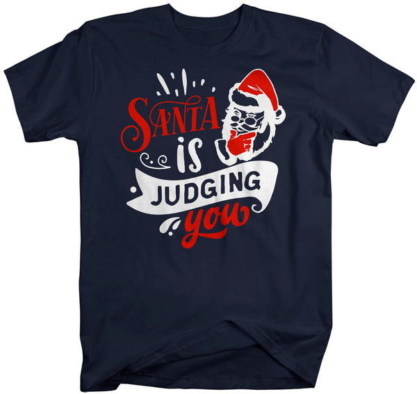 Men's Funny Christmas T Shirt Santa Shirt Santa Judging You Xmas Shirts Hilarious Graphic Tee Shirt Man Unisex-Shirts By Sarah