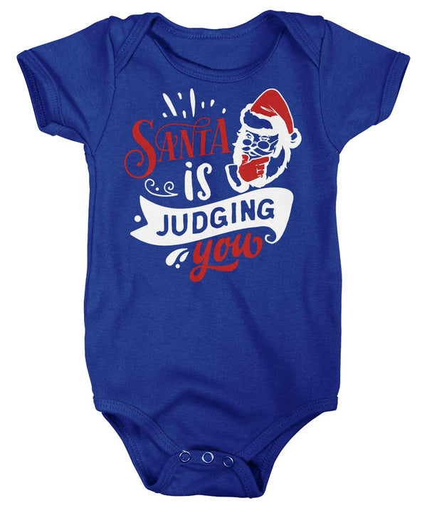 Baby Funny Christmas Bodysuit Santa Creeper Santa Judging You Xmas Snap Suit Hilarious Graphic Tee Shirt Infant-Shirts By Sarah