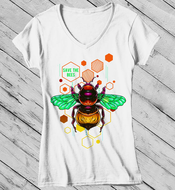 Women's Save The Bees Shirt Graphic Tee Illustrated T-Shirt Shirt Hipster Bee Keeper Gift Idea-Shirts By Sarah