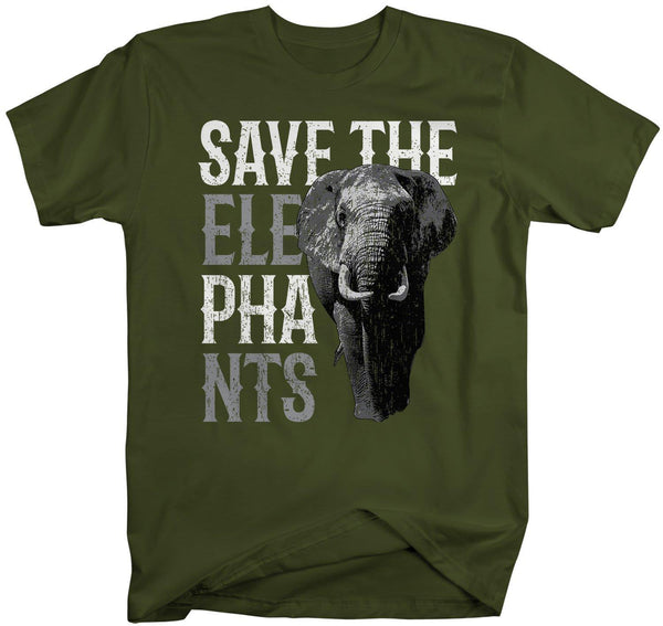 Men's Elephant T Shirt Save The Elephants Shirt Pachyderm Shirts Grunge Elephant TShirt Hipster Shirts-Shirts By Sarah