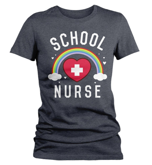 Women's Cute School Nurse T Shirt School Nurse Shirt Rainbow Shirt Nurse Gift Idea School Nurse Gift-Shirts By Sarah