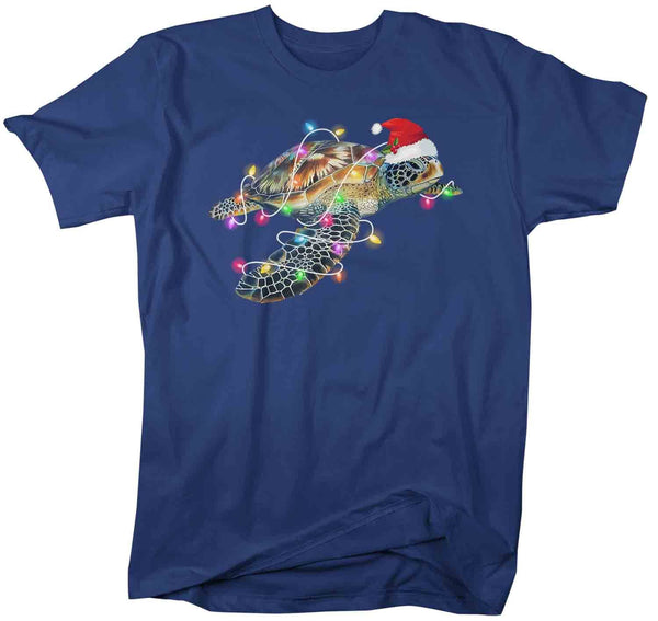 Men's Christmas T Shirt Sea Turtle Shirt Christmas Lights Shirts Sea Turtle Santa Hat Shirt Turtle Shirt VSCO Girl-Shirts By Sarah