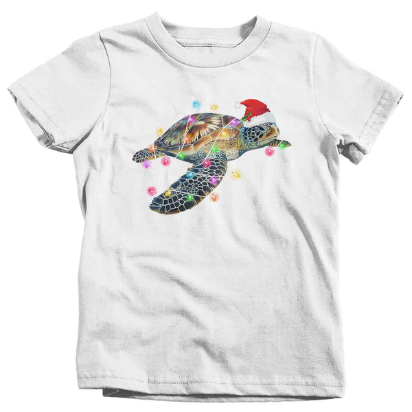 Kids Christmas T Shirt Sea Turtle Shirt Christmas Lights Shirts Sea Turtle Santa Hat Shirt Turtle Shirt VSCO Girl-Shirts By Sarah