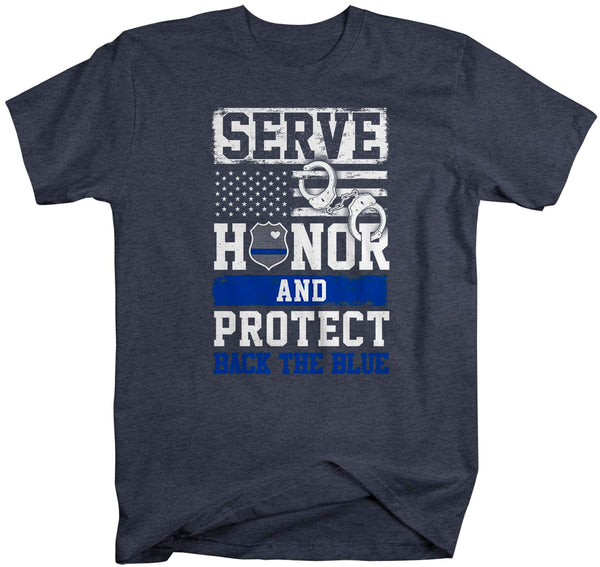 Men's Back The Blue T Shirt Police Shirt Support Serve Honor Protect T Shirt Police Wife Shirt Officer Support Tee-Shirts By Sarah