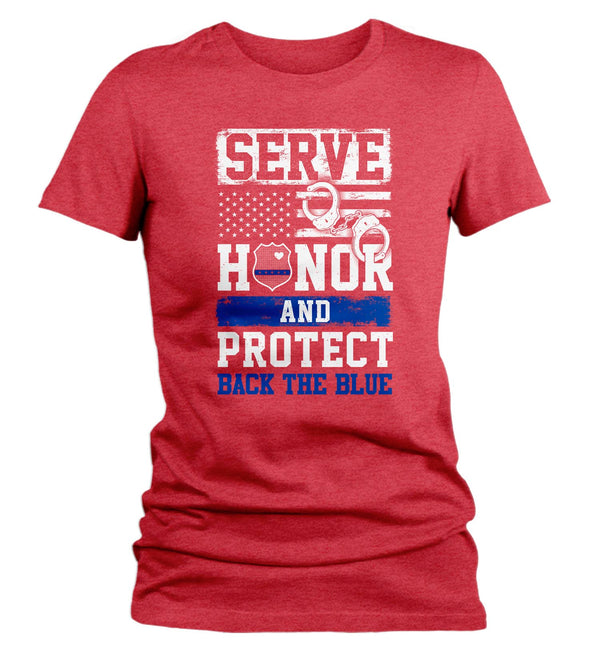 Women's Back The Blue T Shirt Police Shirt Support Serve Honor Protect T Shirt Police Wife Shirt Officer Support Tee-Shirts By Sarah