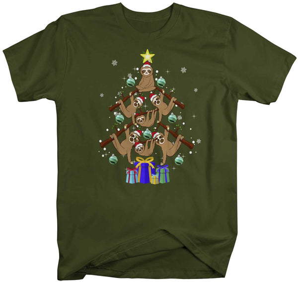 Men's Sloth Christmas Tree T Shirt Funny Christmas Shirts Sloth Christmas Tree Shirt Tree Shirt Sloth Shirt-Shirts By Sarah