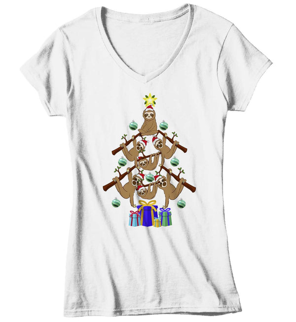 Women's Sloth Christmas Tree T Shirt Funny Christmas Shirts Sloth Christmas Tree Shirt Tree Shirt Sloth Shirt-Shirts By Sarah