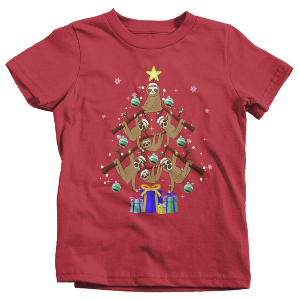 Kids Sloth Christmas Tree T Shirt Funny Christmas Shirts Sloth Christmas Tree Shirt Tree Shirt Sloth Shirt-Shirts By Sarah