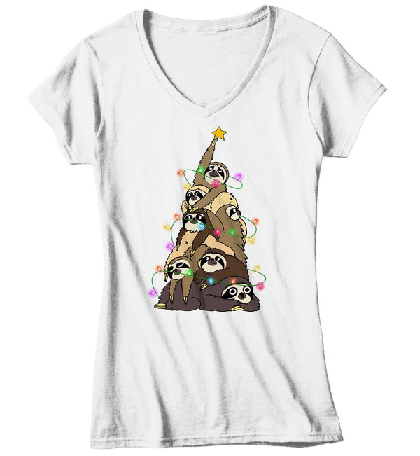 Women's Funny Christmas Tree T Shirt Sloth Christmas Shirts Sloth Christmas Tree Shirt Tree Shirt Sloth Shirt-Shirts By Sarah