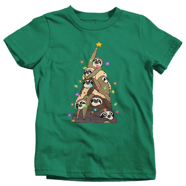 Kids Funny Christmas Tree T Shirt Sloth Christmas Shirts Sloth Christmas Tree Shirt Tree Shirt Sloth Shirt-Shirts By Sarah