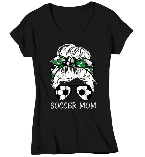 Women's V-Neck Cute Soccer Mom Shirt Messy Bun T Shirt Soccer Mom Tee Hair Bandana Graphic Tee Baller Mom Ladies Soft V-Neck-Shirts By Sarah