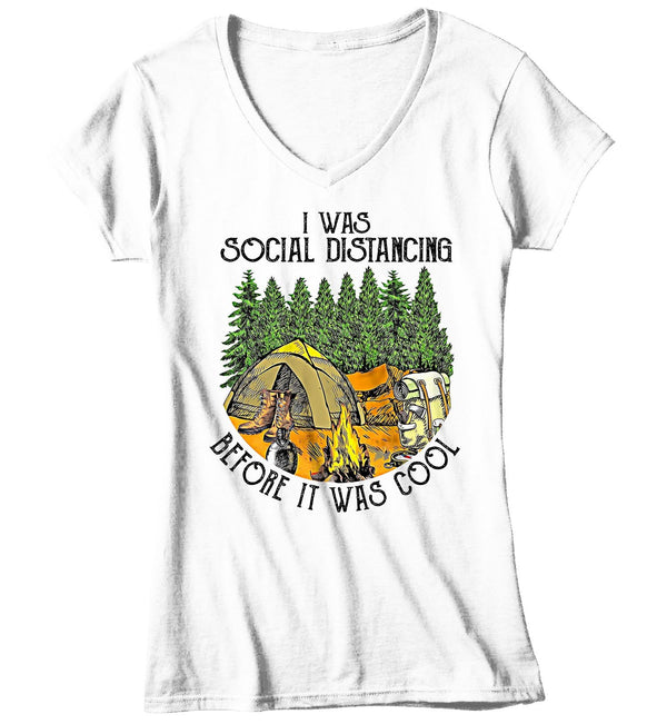 Women's V-Neck Social Distancing T Shirt Before It Was Cool Shirt Camping Shirt Hipster Shirt Camper Social Distance Introvert Shirt-Shirts By Sarah