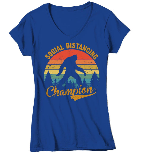 Women's V-Neck Social Distancing T Shirt Bigfoot Shirt Social Distancing Champion Shirt Hipster Shirt Funny Bigfoot Shirt-Shirts By Sarah