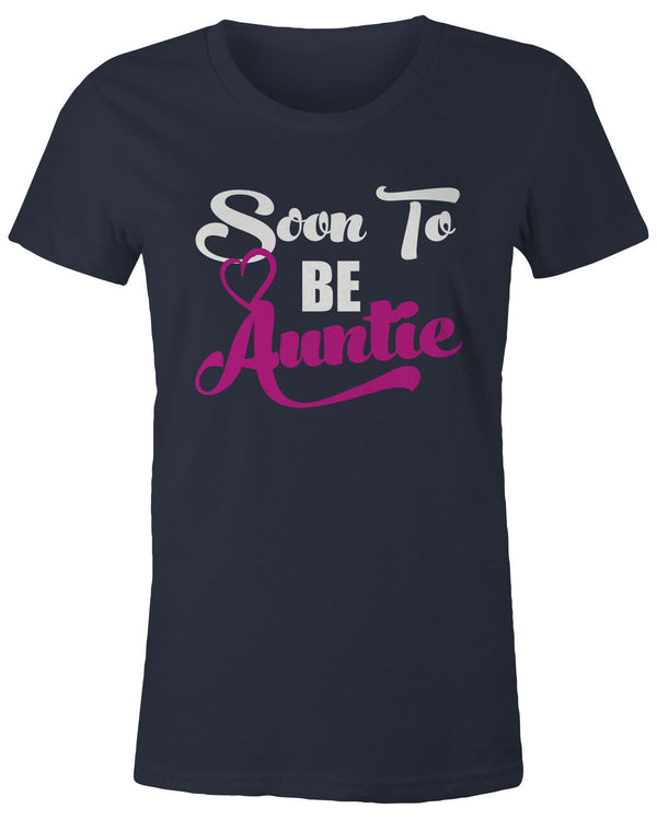 -Shirts By Sarah Women's Soon To Be Auntie T-Shirt New Baby Reveal Aunt Shirt-Shirts By Sarah