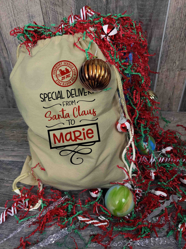 Personalized Santa Sack North Pole Drawstring Backpack Custom Stocking Christmas Delivery Personalized Christmas Reindeer-Shirts By Sarah