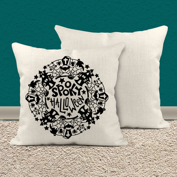 "Cute Halloween Pillow Cover Typography Throw Pillow Spooky Halloween Wreath Shirt Halloween Decor Adorable Halloween 15.75"" Square-Shirts By Sarah"