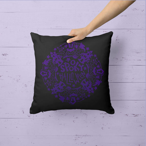 Cute Halloween Pillow Cover Typography Throw Pillow Spooky Halloween Wreath Shirt Halloween Decor Adorable Halloween 15.75