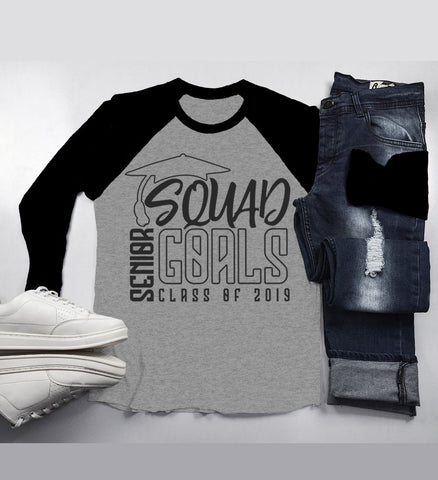 Men's Senior 2019 Raglan Squad Goals Shirt Graduate Gift Idea Class Of 2019 Graduation Shirts 3/4 Sleeve-Shirts By Sarah