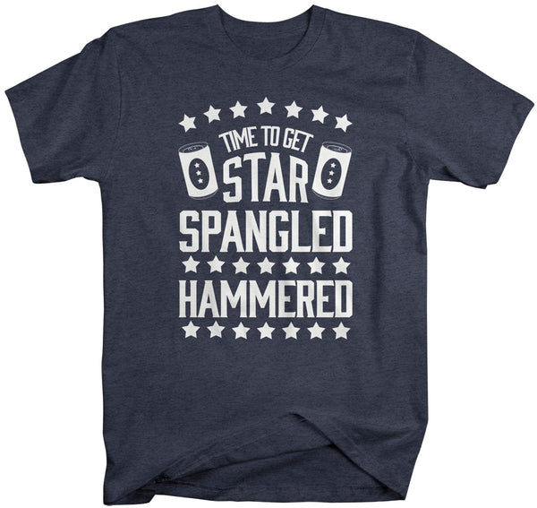 Men's Funny 4th July T Shirt Time To Get Star Spangled Hammered Shirt Drinking Shirt Independence Day Shirt-Shirts By Sarah