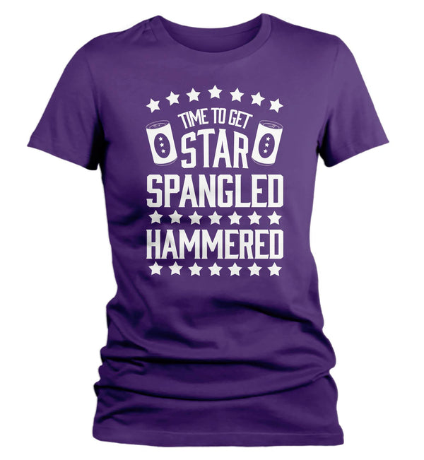 Women's Funny 4th July T Shirt Time To Get Star Spangled Hammered Shirt Drinking Shirt Independence Day Shirt-Shirts By Sarah
