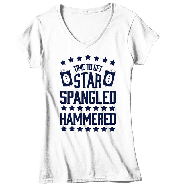Women's V-Neck Funny 4th July T Shirt Time To Get Star Spangled Hammered Shirt Drinking Shirt Independence Day Shirt-Shirts By Sarah