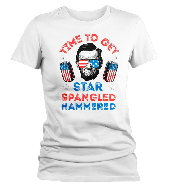 Women's Funny 4th July T Shirt Star Spangled Hammered Drinking Shirt Patriotic Shirts Glass American Shirt-Shirts By Sarah
