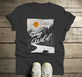 Men's Stay Wild T Shirt Hand Drawn Nature Shirts Bear Woods Hipster Forest Explore Graphic Tee-Shirts By Sarah