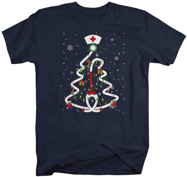 Men's Nurse Christmas T Shirt Christmas Tree Shirts Stethoscope Nurse Shirt Nurses Christmas Shirt-Shirts By Sarah