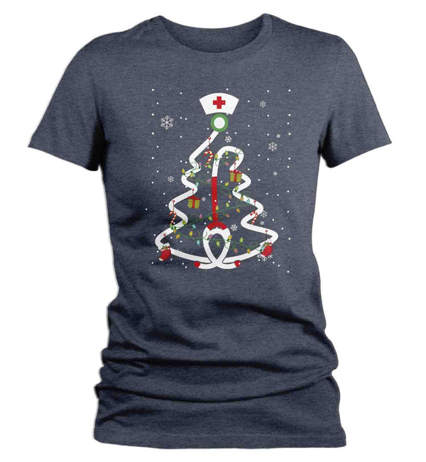 Women's Nurse Christmas T Shirt Cute Christmas Shirts Stethoscope Nurse Shirt Nurses Christmas Shirt-Shirts By Sarah