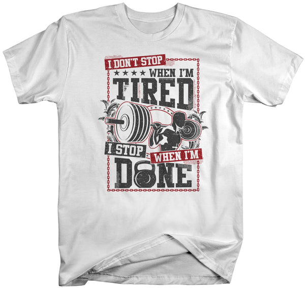 Men's Workout T-Shirt Lifter Shirt Weight Lifting Shirts Stop When I'm Done Grunge Gym Shirts MMA Shirt-Shirts By Sarah