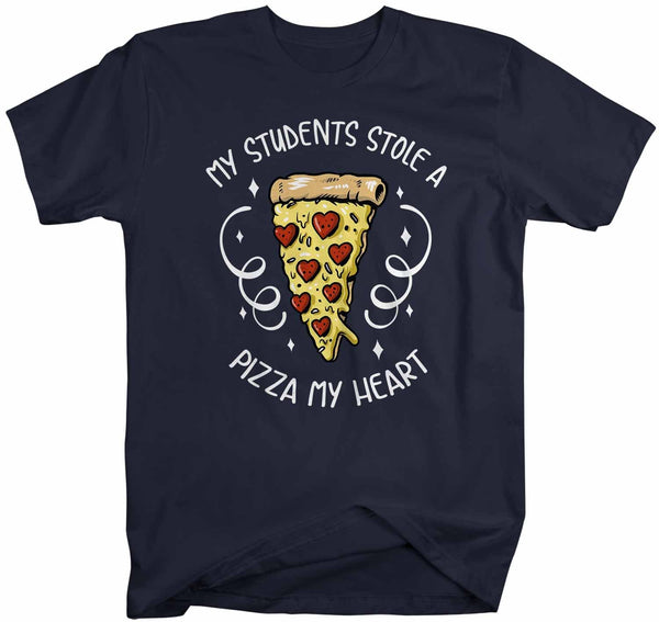 Men's Teacher T Shirt Valentine's Day Teacher Shirts Students Stole Pizza My Heart Valentines TShirt Cute Teacher Tee-Shirts By Sarah