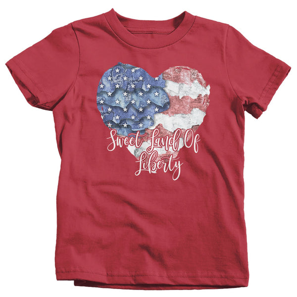 Kid's Boho 4th July T Shirt Sweet Land Liberty Shirts American Heart Flag TShirt Boho Patriotic Shirt Toddler Baby-Shirts By Sarah