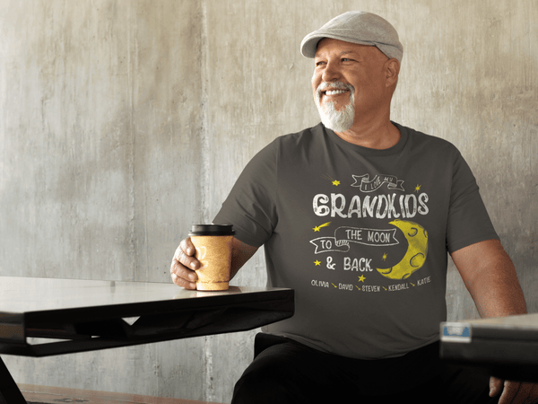 Personalized Grandpa T-Shirt Love Grandkids Moon Back Custom Grandpa Shirts Names Celestial Gift Idea-Shirts By Sarah