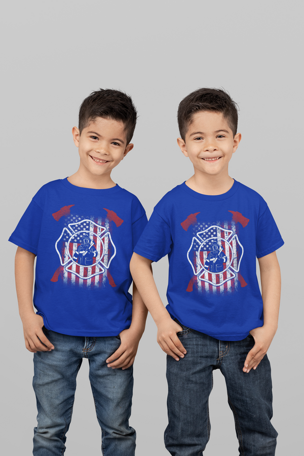 Kids Firefighter Shirt American Firefighter T Shirt Gift Idea Flag Patriotic Fireman Gift U.S. Flag Tee Boy's Girl's Youth-Shirts By Sarah