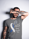 Men's ALS T-Shirt Blue ALS Amyotrophic Lateral Sclerosis Ribbon In Memory Of Shirt ALS Took