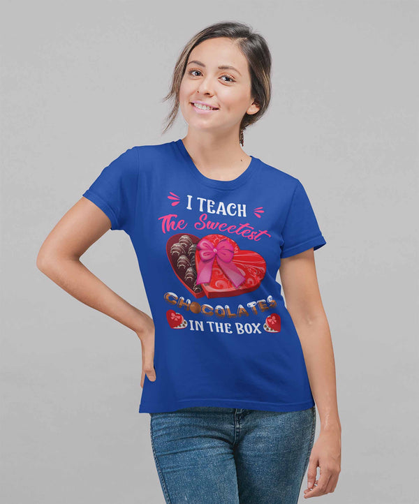 Women's Teacher T Shirt Valentine's Day Teacher Shirts Teach Sweetest Chocolates In Box TShirt Cute Teacher Tee-Shirts By Sarah