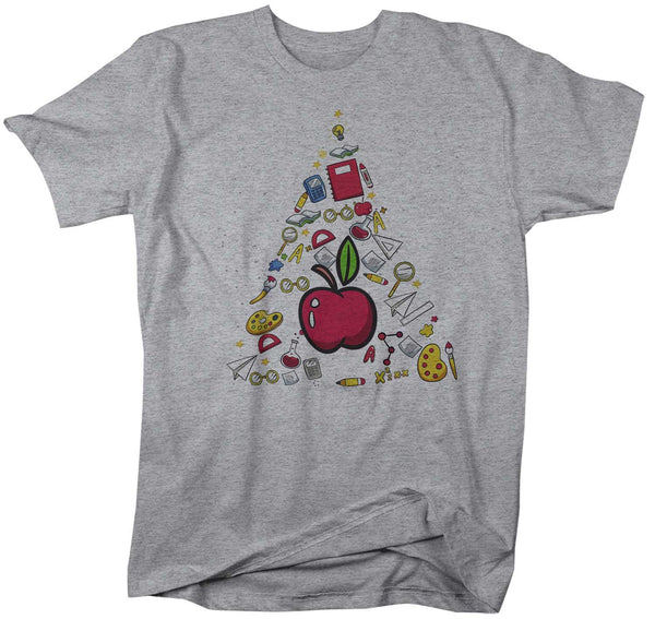 Men's Teacher Christmas Tree T Shirt Christmas Shirts Alphabet Shirt Tree Shirt Cute Christmas Shirt For Teacher-Shirts By Sarah