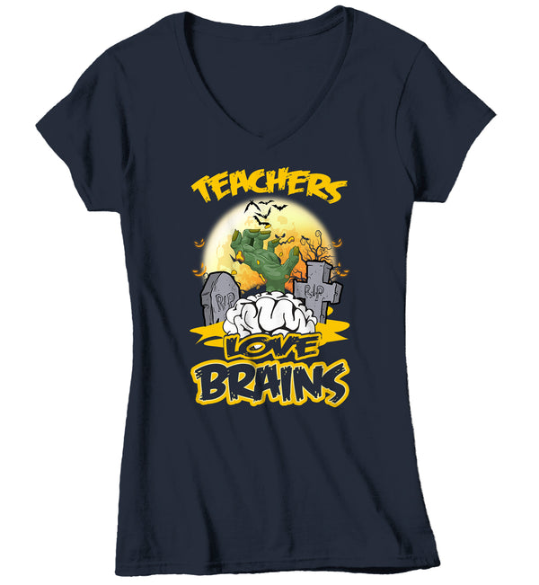 Women's V-Neck Teacher Halloween T Shirt Funny Teacher Shirt Teachers Love Brains Halloween Gift Idea Teacher-Shirts By Sarah