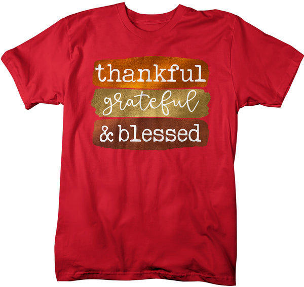 Men's Grateful T Shirt Thanksgiving Shirt Fall Sunflower Shirt Thankful Grateful Blessed Boho Cute Fall Season Tee-Shirts By Sarah