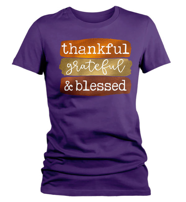 Women's Blessed T Shirt Thanksgiving Shirt Fall Brush Strokes Shirt Thankful Grateful Blessed Boho Cute Fall Season Tee-Shirts By Sarah
