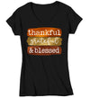Women's V-Neck Blessed T Shirt Thanksgiving Shirt Fall Brush Strokes Shirt Thankful Grateful Blessed Boho Cute Fall Season Tee