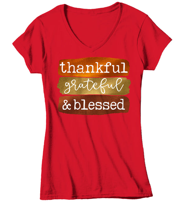 Women's V-Neck Blessed T Shirt Thanksgiving Shirt Fall Brush Strokes Shirt Thankful Grateful Blessed Boho Cute Fall Season Tee-Shirts By Sarah
