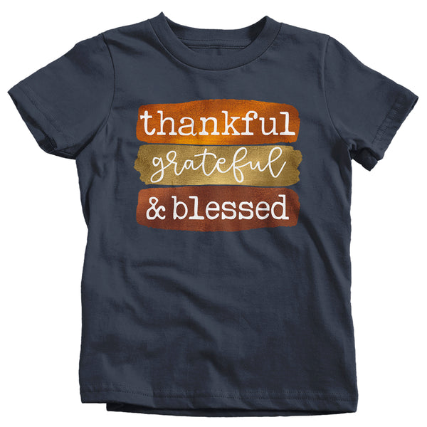 Kids Blessed T Shirt Thanksgiving Shirt Fall Brush Strokes Shirt Thankful Grateful Blessed Boho Cute Fall Season Tee-Shirts By Sarah