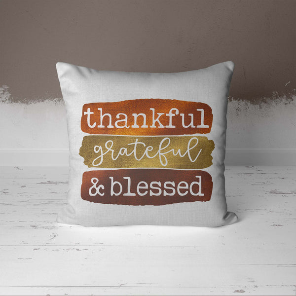 "Blessed Pillow Cover Thanksgiving Throw Pillow Case Fall Brush Strokes Thankful Grateful Blessed Boho Cute Fall 15.75""X15.75""-Shirts By Sarah"